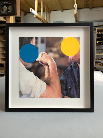 """Two-Opponents-blue-and-yellow-John-Baldessari-custom-picture-framing-by-Frames-and-stretchers-signed-lithograph"