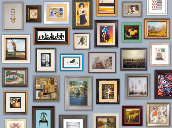 A collection of artwork and photos framed with Larson-Juhl frames..