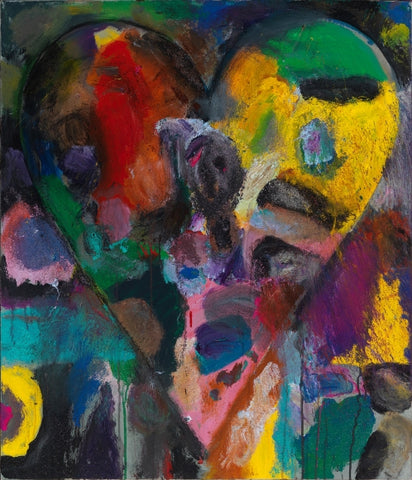 Contemporary American Pop Artist Jim Dine multicolor heart painting.