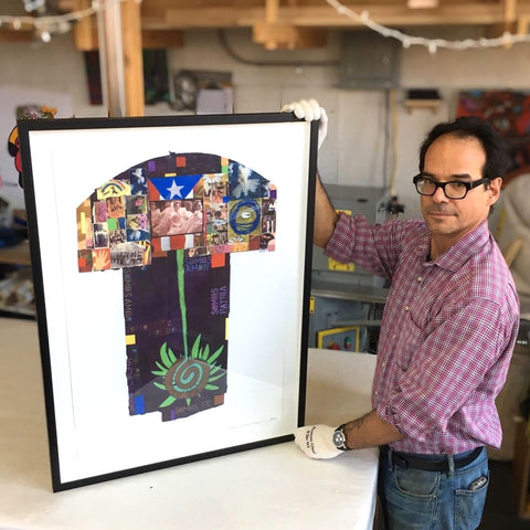 Miguel Trelles with custom framed artwork print by Nuyorican artist Juan Sanchez