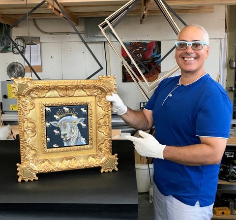 Betsey Regan Goat painting on canvas crown custom framing hand-carving gilding