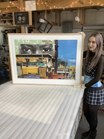 jr-lithograph-social-animals-inside-out-haiti-custom-maple-frame-by-frames-and-stretchers-nyc-new-haven-miami-best-frame-studio-in-new-york-city