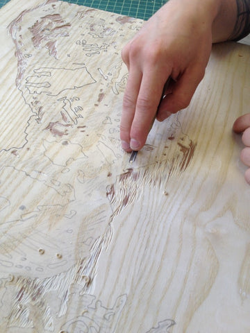 Preparing the woodcut for Mantegna