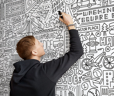 Artist Timothy Goodman mural for Uniqlo