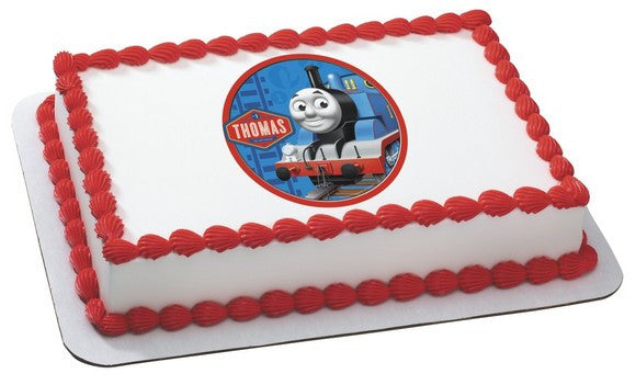 THOMAS THE TANK ENGINE TRAIN Edible Cake Topper on Frosting Paper - Never Forgotten Designs