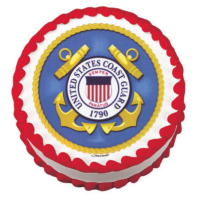 Official USCG Coast Guard Edible Cake Topper on Frosting Paper - Never Forgotten Designs