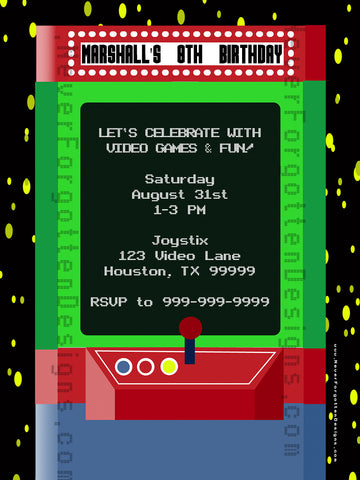 Retro Video Game Invitation Design - Never Forgotten Designs