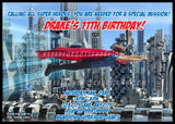 Flying Super Hero Invitation Design - Never Forgotten Designs