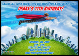 Flying Super Hero Invitation Design