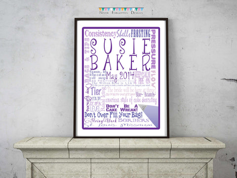 Custom Word Art Cake Decorator Bakery Gift Design - Never Forgotten Designs