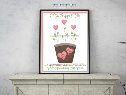 Personalized Teacher Fingerprint Flower Pot Design - Never Forgotten Designs