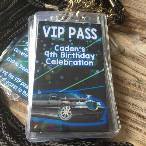 COMPLETE VIP INVITAITON BADGES FOR PARTY LIMO BUS EVENTS - Never Forgotten Designs