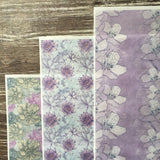 Edible Cream & Lavender Floral Designs on Wafer Paper