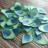 Edible Peacock Feathers on Wafer Paper 2 Inch Traditional Color