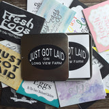 Chalkboard Loop Just Got Laid Designer Egg Carton Labels with Premium Printing - Never Forgotten Designs