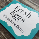 Color Block Fresh Eggs Designer Egg Carton Labels with Premium Printing - Never Forgotten Designs