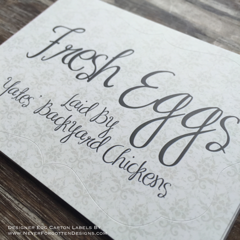 Damask Fresh Eggs Designer Egg Carton Labels with Premium Printing - Never Forgotten Designs