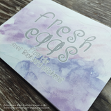 Purple Clouds Watercolor Designer Egg Carton Labels with Premium Printing - Never Forgotten Designs