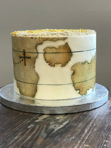 Aged Map Atlas Edible Cake Wraps© Images