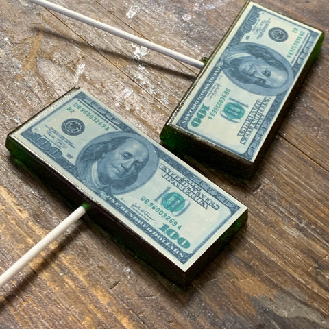 $100 Bill Money Hard Candy Lollipops by NFD