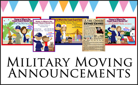 Custom Military Moving  Announcements - Never Forgotten Designs