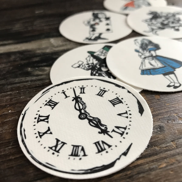 12 Pre Cut Alice In Wonderland Wafer Paper Cupcake Toppers 5cm