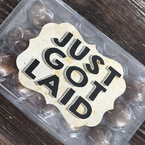 Just Got Laid Egg Carton Sticker Labels with Ornate Cut Shape