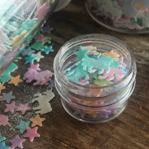Solid Color Unicorn & Star Glitter Fun Food Sprinkles© by Never Forgotten Designs