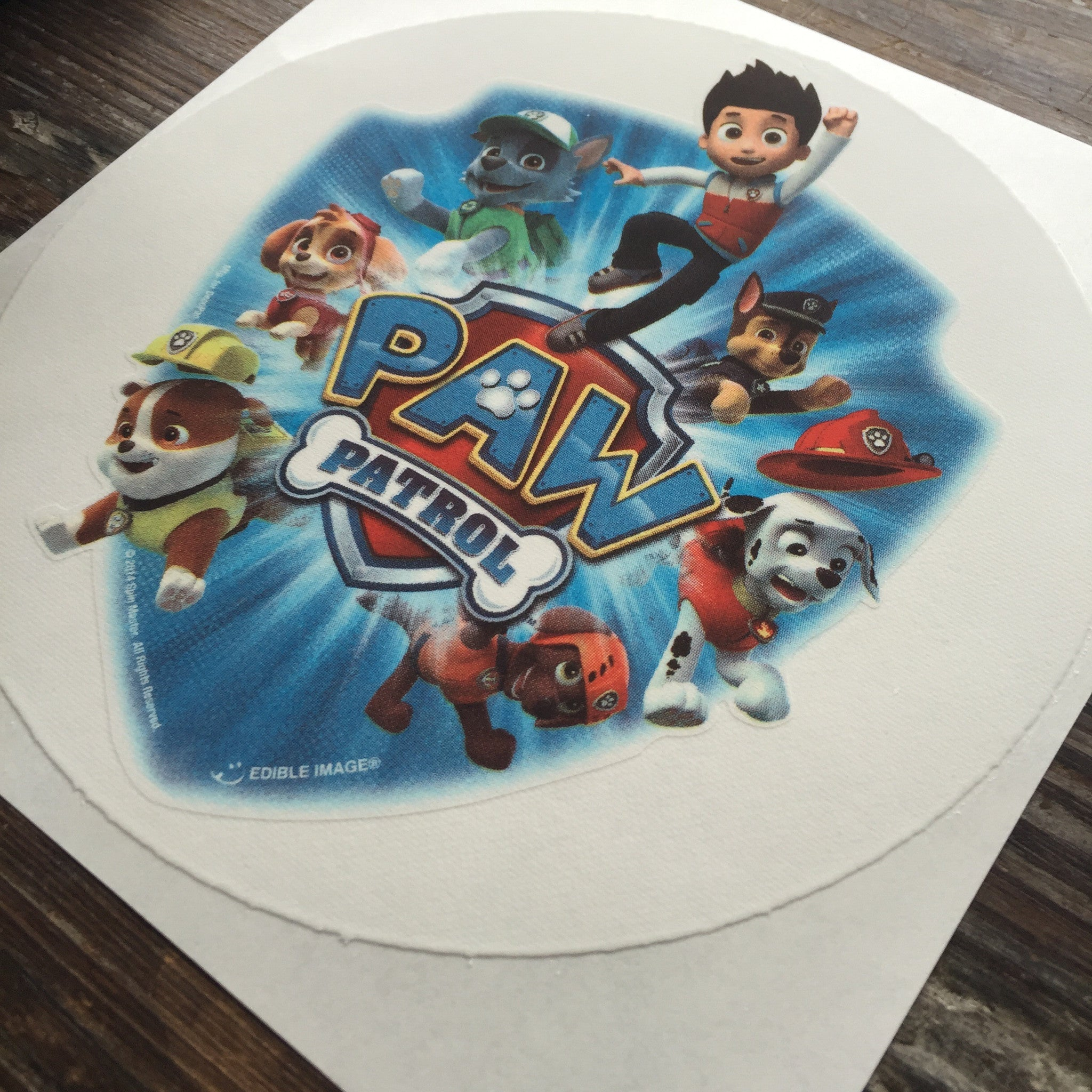 Paw Patrol Edible Cake Topper on Frosting Paper