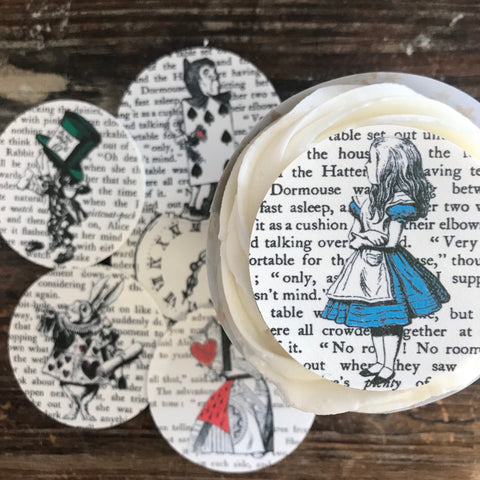Edible Alice in Wonderland Book Page Cupcake Toppers