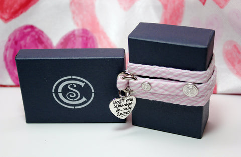 Light Pink Seersucker w/ Love Charm - CottonSnaps
