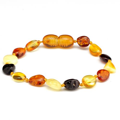 Round Polished Baltic Amber Bean Teething Bracelet ~ 14cm/5.5inch