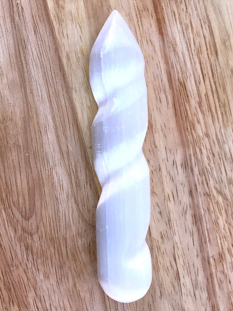 Selenite Single Point Spiral Wand - Spiritual Growth & Meditation