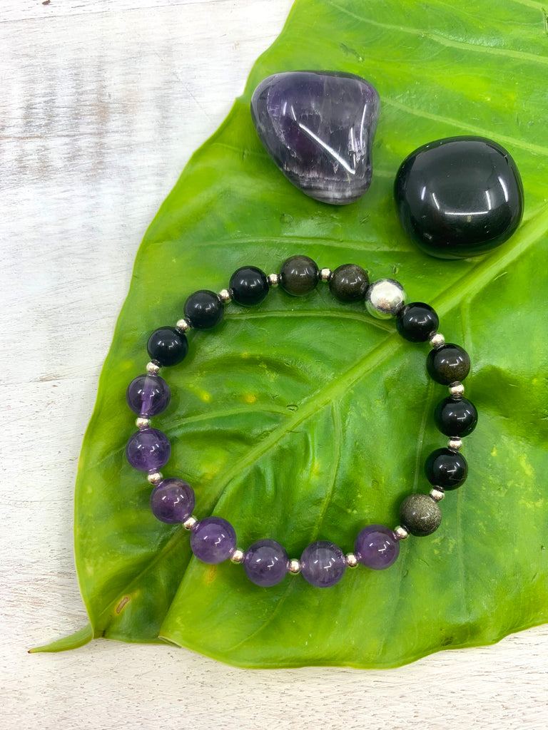 Amethyst and black obsidian sterling silver bracelet