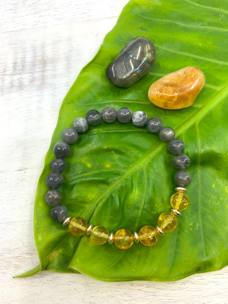 Citrine & Labradorite Sterling Silver Bracelet - Temple of the Stars