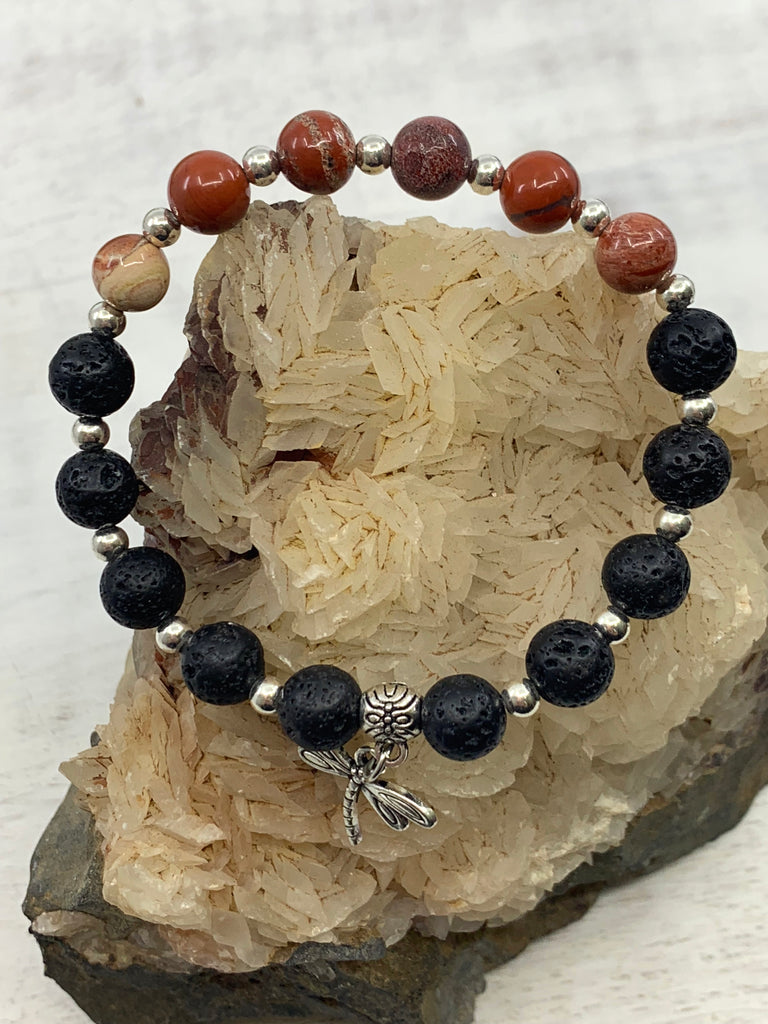 Grounding Dragonfly Charm Bracelet - Red Jasper - Root & Sacral Chakra