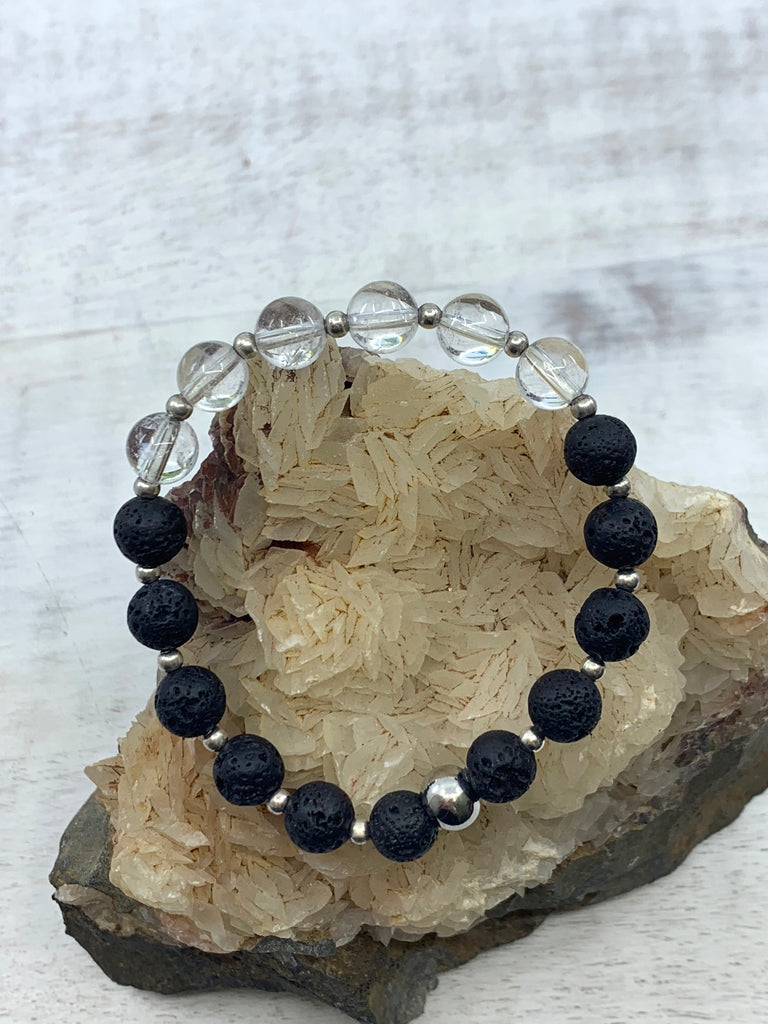 Clear Quartz & Lava Bead Bracelet - Enlightenment