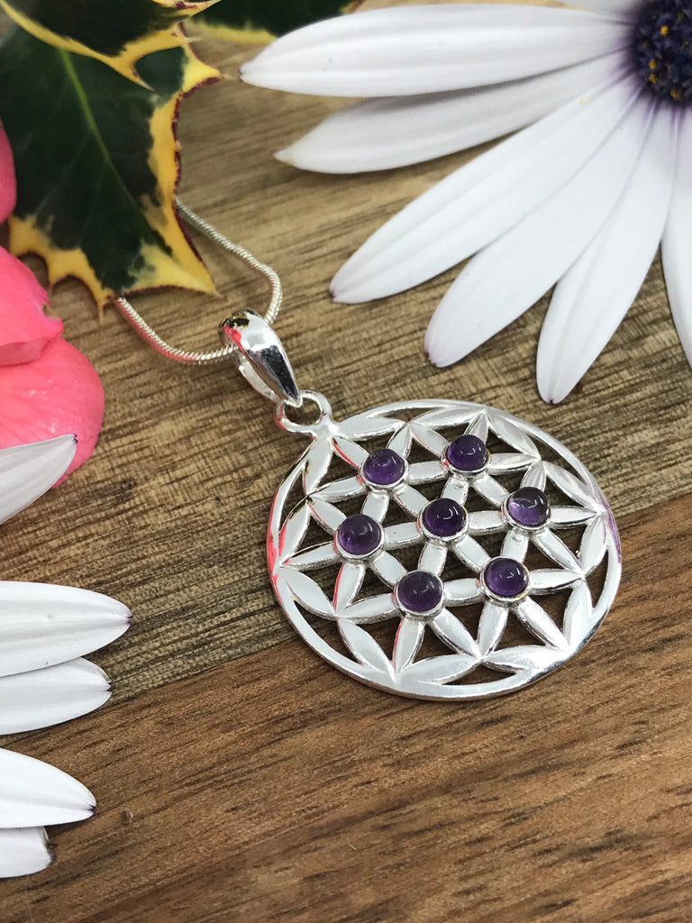 Amethyst Flower of Life Silver Pendant - Protection & Intuition