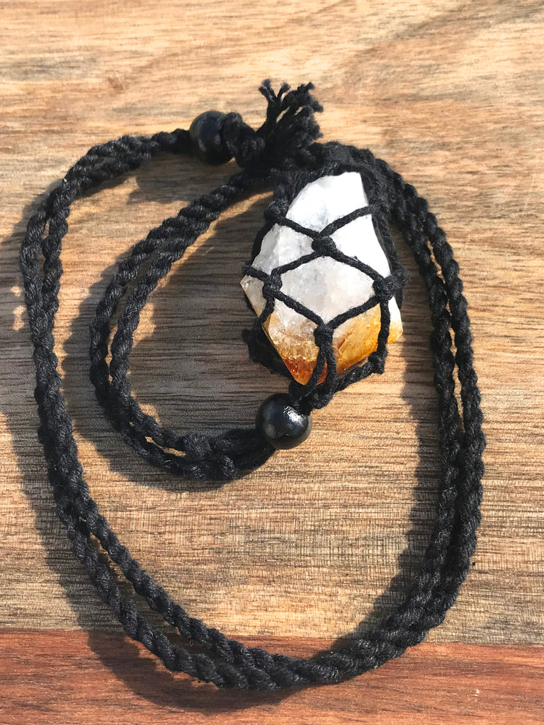 Citrine Natural Point in Adjustable Macrame