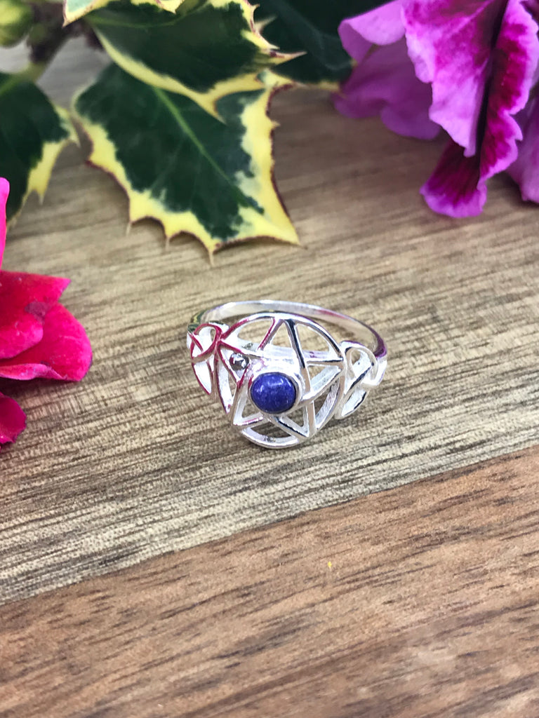 Lapis Lazuli Pentacle Sterling Ring on sale at Inspired By 3
