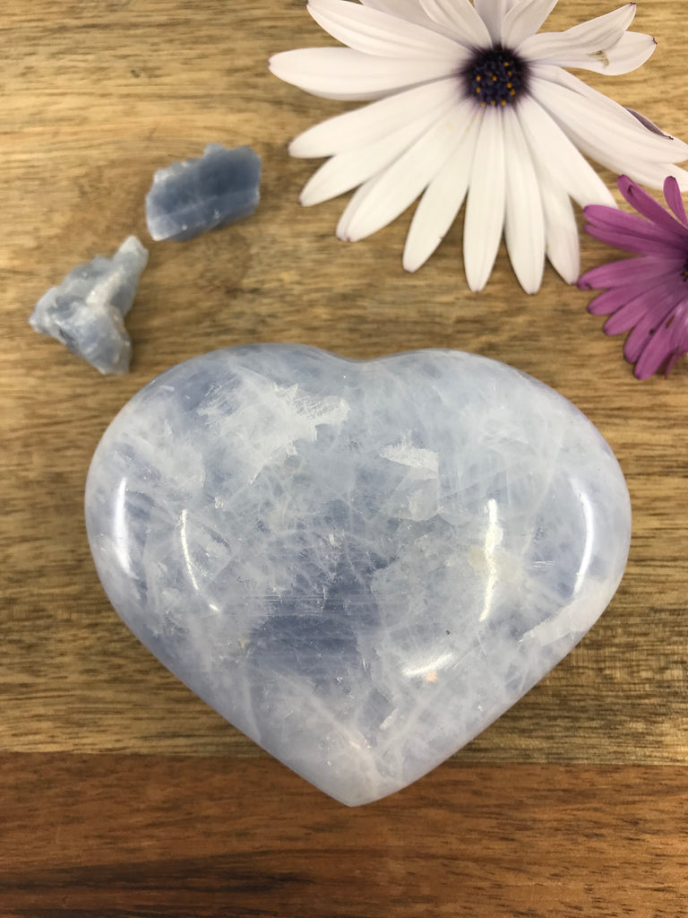 Blue Calcite Heart 361g - Reduce Anxiety