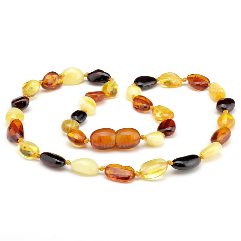 Round Polished Baltic Amber Bean Teething Necklace ~ 32cm/12.5inch