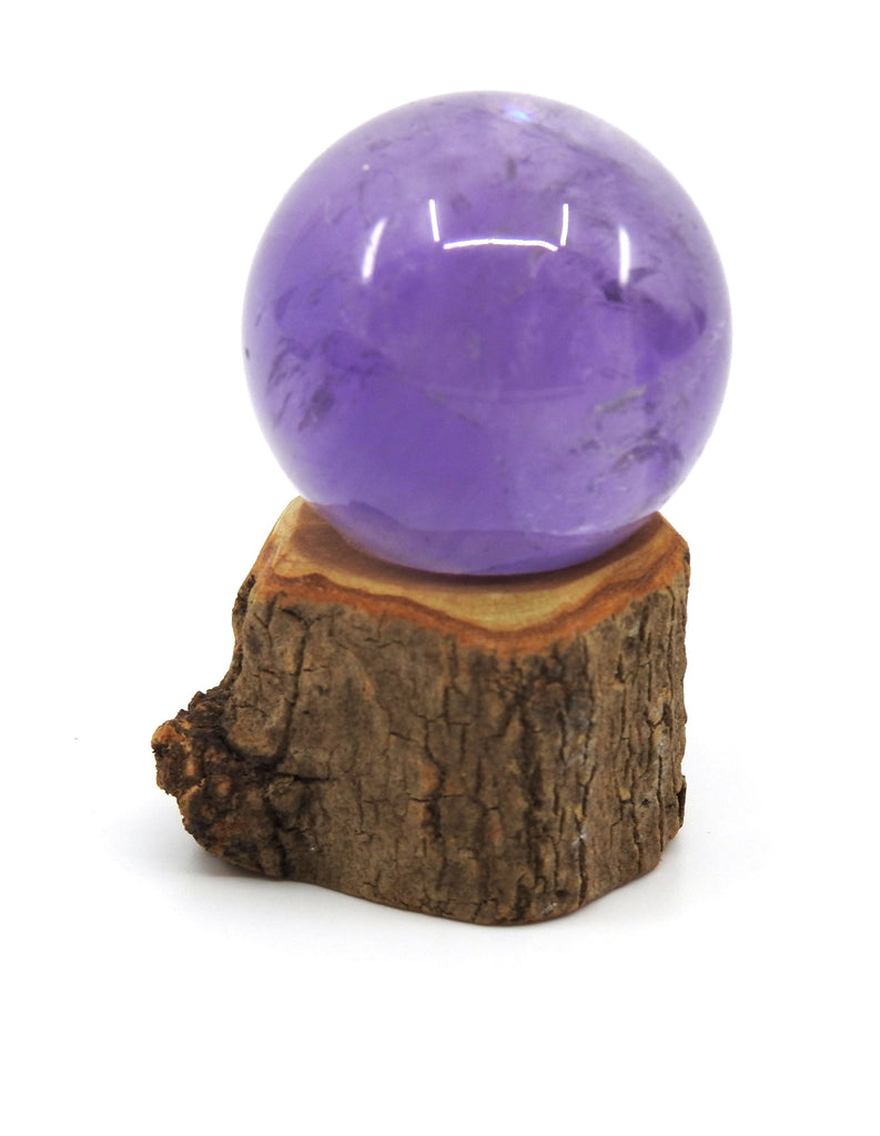 Amethyst Sphere on Wooden Stand 35mm - Intuition & Protection