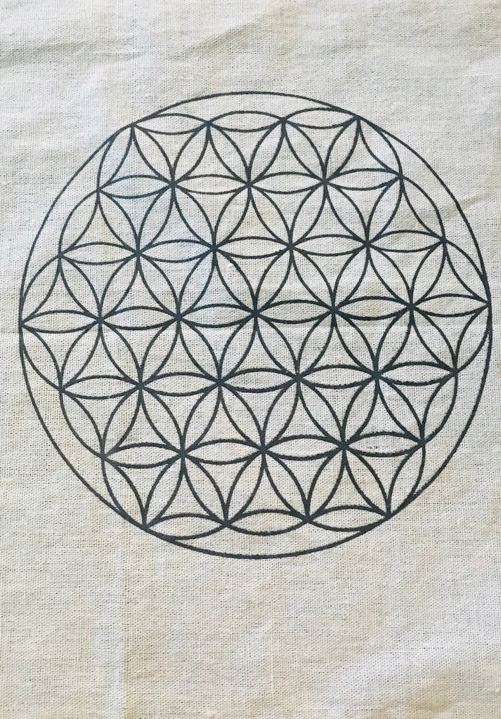 Flower of Life Crystal Grid Cotton Mat 33cm for Crystal Gridding