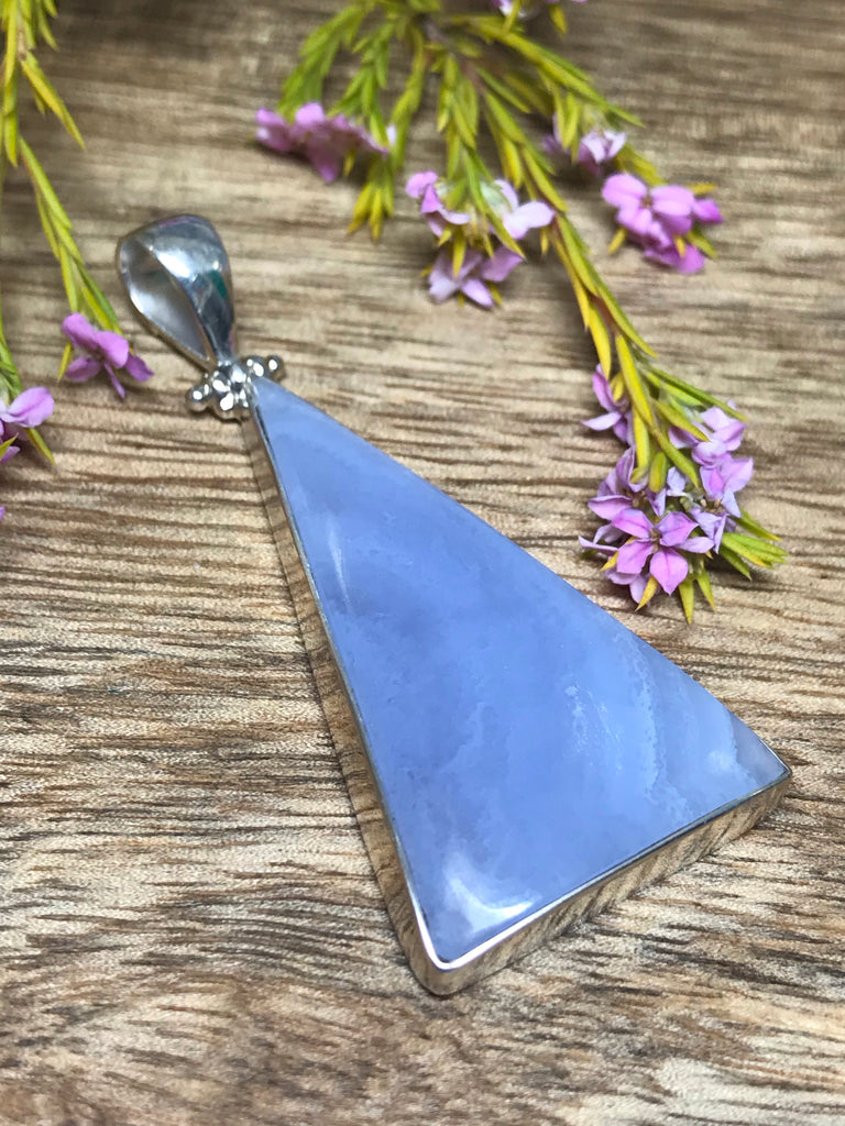 Blue Lace Agate Large Pendant - Calming. Thyroid.