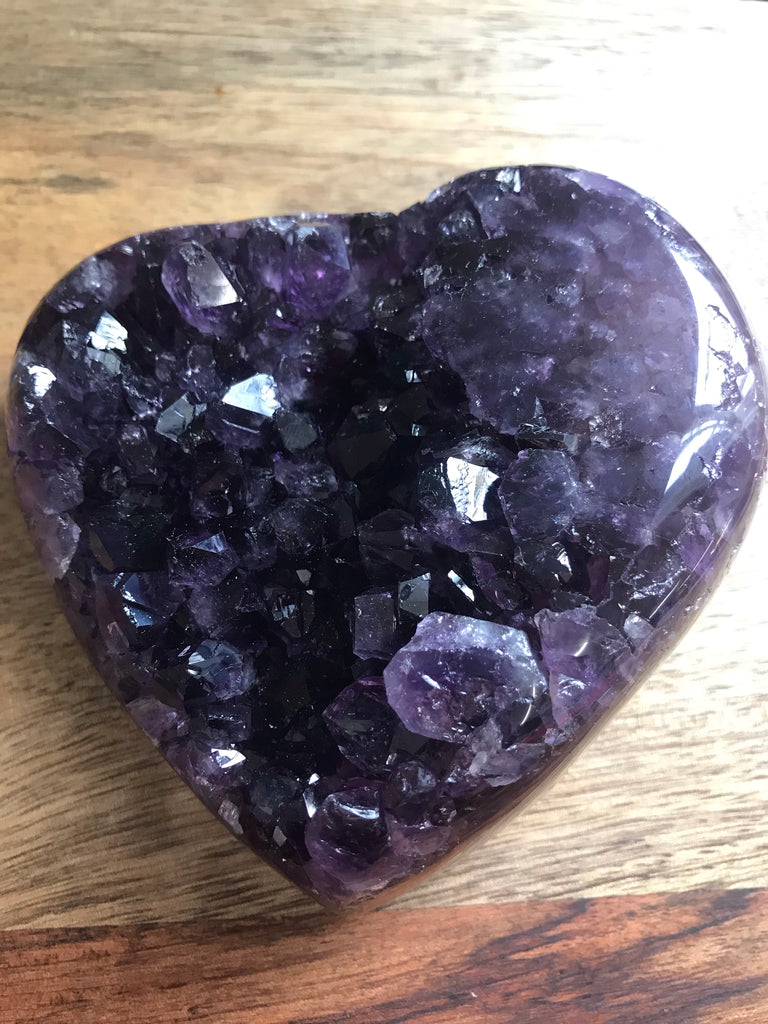 Amethyst Cluster Heart Dark Purple 519g