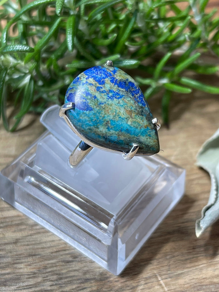 Azurite Polished Ring Size 8- Past Life. Connection to Atlantis.
