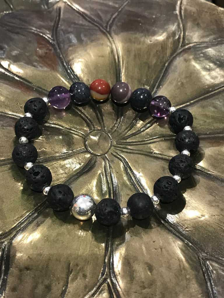 Shamanic Journeying Bracelet with Lava Beads -Sterling Silver