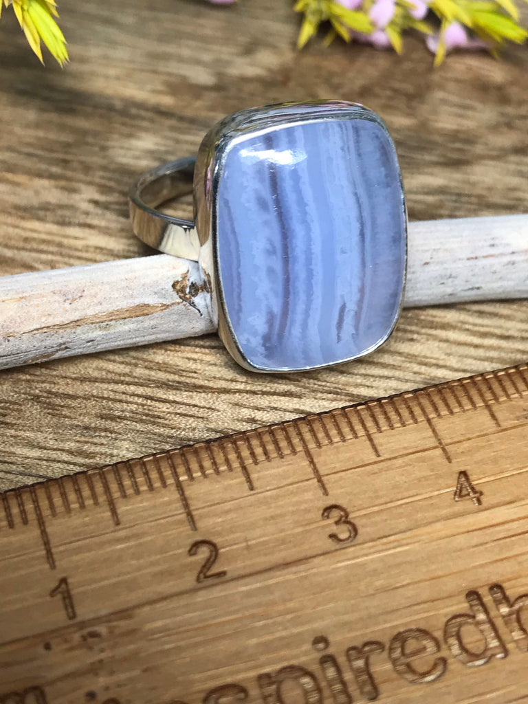 Blue Lace Agate Ring Size 10- Calming. Thyroid.