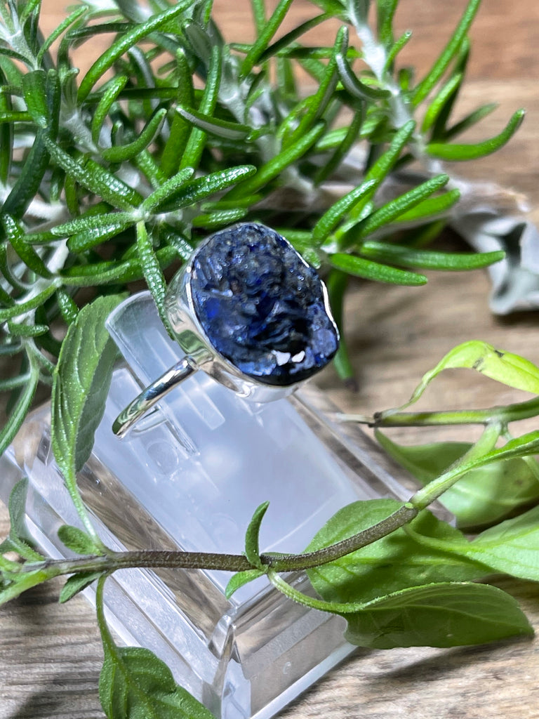 Azurite Natural Ring Size 8 - Past Life. Connection to Atlantis.